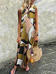 Недорогие -Жен. Большие размеры Классический Прямое Платье - Геометрический принт V-образный вырез Макси