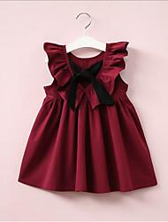 Χαμηλού Κόστους -Νήπιο Κοριτσίστικα Γλυκός / χαριτωμένο στυλ Μονόχρωμο Αμάνικο Φόρεμα Ανθισμένο Ροζ