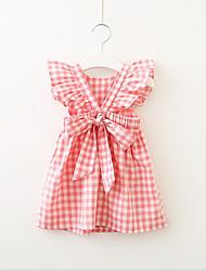 お買い得  -子供 / 幼児 女の子 活発的 / 甘い チェック 半袖 ドレス ブルー