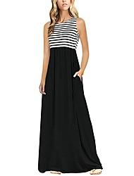 رخيصةأون -فستان نسائي كلاسيكي عصري أساسي طويل للأرض ضيق أسود و أبيض مخطط خصر عالي / مثير
