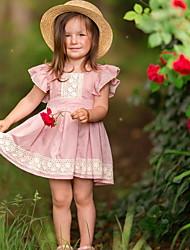 お買い得  -子供 女の子 ベーシック ソリッド ノースリーブ ドレス ピンク