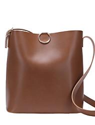 cheap -Women's Bags PU(Polyurethane) Shoulder Bag Zipper Solid Color Coffee / Brown / Khaki