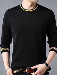 voordelige -heren katoenen t-shirt met aziatische maat - effen gekleurde ronde hals