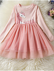 Χαμηλού Κόστους -Παιδιά Κοριτσίστικα Βασικό Μονόχρωμο Μακρυμάνικο Φόρεμα Ανθισμένο Ροζ