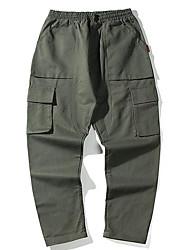 billige -mænds slanke chinosbukser - solid farvet khaki