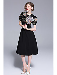 cheap -A-Line Jewel Neck Knee Length Jersey Dress with Embroidery by LAN TING Express
