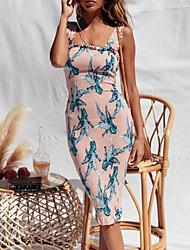 baratos -Mulheres Evasê Vestido Estampa Colorida Acima do Joelho