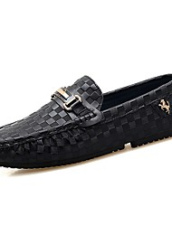 cheap -Men's Comfort Shoes Cowhide Spring &  Fall Loafers & Slip-Ons Black / Blue