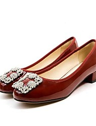 cheap -Women's Patent Leather Spring Sweet / Minimalism Heels Chunky Heel Square Toe Rivet Red / Almond / Burgundy
