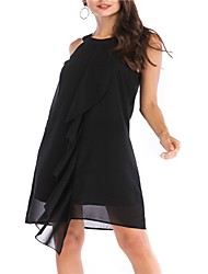 cheap -Women's Party Daily Basic Elegant Loose A Line Dress - Solid Colored Patchwork Summer Black Pink Wine XL XXL XXXL