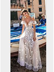 Недорогие -Жен. Пляж Элегантный стиль Оболочка Платье - Однотонный, Кружева Открытая спина Глубокий V-образный вырез Макси / Сексуальные платья