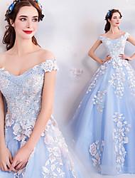 זול -Cinderella שמלות בגדי ריקוד נשים תחפושות משחק של דמויות מסרטים כחול שמלה האלווין (ליל כל הקדושים) קרנבל נשף מסכות אורגנזה כותנה רקמה / פרחוני / צרעה - מותניים