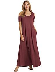 رخيصةأون -فستان نسائي كلاسيكي عصري أنيق طويل للأرض ضيق لون سادة خصر عالي / مثير