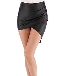 Недорогие -Жен. Мини Облегающий силуэт Подол Однотонный С разрезами / Тонкие
