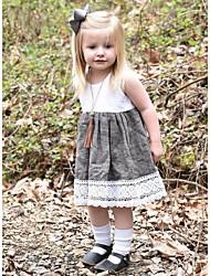 Χαμηλού Κόστους -Μωρό Κοριτσίστικα Βασικό Συνδυασμός Χρωμάτων Αμάνικο Βαμβάκι Φόρεμα Λευκό