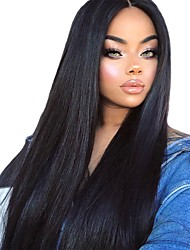 cheap -Synthetic Lace Front Wig Straight / Silky Straight Kardashian Style Layered Haircut L Part / Lace Front Wig Black Natural Black Synthetic Hair 26 inch Women's Soft / Heat Resistant / New Arrival Black