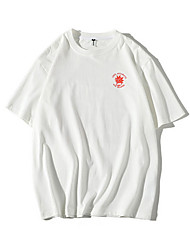baratos -T-shirt solto tamanho asiático masculino - carta em volta do pescoço