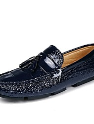 cheap -Men's Moccasin Cowhide Spring &  Fall Loafers & Slip-Ons Black / Orange / Blue
