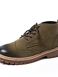 cheap -Men's Combat Boots Suede Fall Boots Booties / Ankle Boots Gray / Green / Khaki