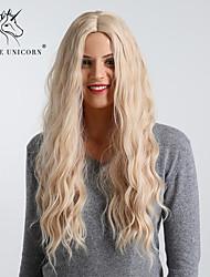 Χαμηλού Κόστους -Συνθετικές Περούκες Κυματιστό / Bouncy Curl Στυλ Μέσο μέρος Χωρίς κάλυμμα Περούκα Χρυσό Ανοικτό Χρυσαφί Συνθετικά μαλλιά 24 inch Γυναικεία Απλός / συνθετικός / Η καλύτερη ποιότητα Χρυσό Περούκα Μακρύ