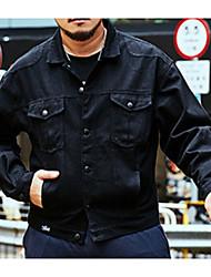 levne -Pánské Denní Základní Podzim Standardní Bunda, Jednobarevné Košilový límec Dlouhý rukáv Polyester Černá / Armádní zelená XXXXL / XXXXXL / XXXXXXL