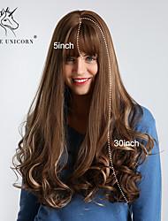 Χαμηλού Κόστους -Συνθετικές Περούκες Bouncy Curl / Χαλαρό Κυματιστό Στυλ Με αφέλειες Χωρίς κάλυμμα Περούκα Σκούρο Καφέ Μπεζ Συνθετικά μαλλιά 30 inch Γυναικεία συνθετικός / Η καλύτερη ποιότητα / Μαλλιά με ανταύγειες