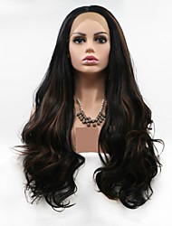 cheap -Synthetic Lace Front Wig Body Wave / Loose Curl Black Layered Haircut Natural Black 130% Density Synthetic Hair 24 inch Women's Women Black / Brown Wig Long Lace Front Sylvia