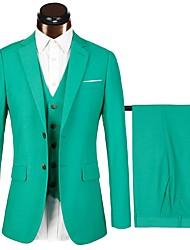 billiga -Marinblå / Ljusgrön / Himmelsblå Enfärgad Standardpassform Bomull / polyster Kostym - Trubbig Singelknäppt Två knappar / kostymer