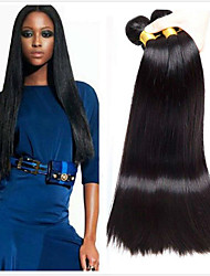 Недорогие -4 Связки Перуанские волосы Прямой Необработанные натуральные волосы Человека ткет Волосы Пучок волос Накладки из натуральных волос 8-28 дюймовый Естественный цвет Ткет человеческих волос