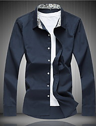 billiga -herrtröja - solidfärgad skjorta krage