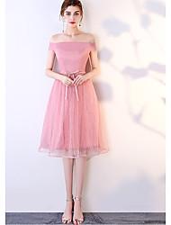 זול -גזרת A צווארון V באורך  הברך טול שמלה לשושבינה  עם סרט על ידי LAN TING Express