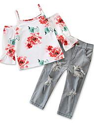 tanie -Dzieci Dla dziewczynek Moda miejska Kwiaty Nadruk Długi rękaw Regularny Poliester Komplet odzieży Biały