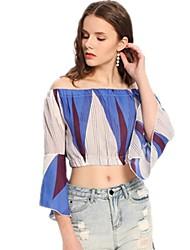 billige -Dame - Geometrisk / Grafisk Trykt mønster Bluse