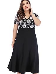 cheap -Women's Basic A Line Dress - Floral Print Black XXXL XXXXL XXXXXL