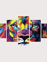 رخيصةأون -الطباعة يطبع قماش يلف مطبوعات قماش رغم الضغوط - تجريدي حيوانات معاصر الحديث خمس لوحات