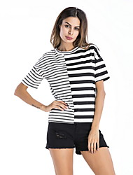 hesapli -Kadın ab / us boyutu ince tişört - çizgili yuvarlak boyun