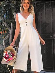 ราคาถูก -สำหรับผู้หญิง Street Chic ขาว ชุด Jumpsuits, สีพื้น L XL XXL