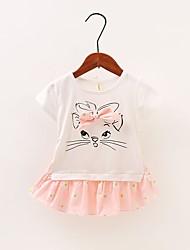 voordelige -Baby Meisjes Standaard Effen / Bloemen / Print Strik Korte mouw Boven de knie Katoen Jurk Blozend Roze