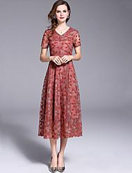 Χαμηλού Κόστους -Γυναικεία Κομψό Swing Φόρεμα - Μονόχρωμο Λεοπάρ, Δαντέλα Μακρύ