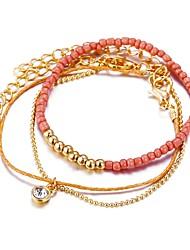 tanie -4 szt. Damskie Wielowarstwowy Zestaw bransoletek Elegancki Modny Bransoletki Biżuteria Różowy Na Prezent Ulica