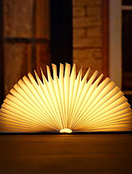 Недорогие -1 шт. Портативный usb аккумуляторная ночной свет декоративные деревянные книги светодиодные лампы складной теплый белый кровать лампа настольная лампа творческий подарок