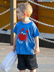 billige -Barn / Baby Gutt Aktiv / Grunnleggende Geometrisk / Trykt mønster / Tegneserie Trykt mønster Kortermet Normal Normal Bomull / Polyester Tøysett Blå