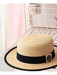 Недорогие -Муж. Классический Соломенная шляпа Солома,Однотонный Черный Бежевый Хаки