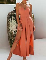 cheap -Women's Sophisticated Elegant Shift Sheath Swing Dress - Solid Colored Backless Split Patchwork Black Orange M L XL