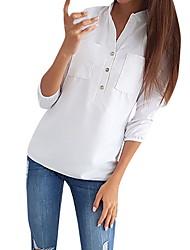 baratos -Mulheres Camisa Social Sólido Colarinho de Camisa Delgado