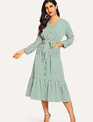 preiswerte -midi trompete / meerjungfrauenkleid der frauen v-ausschnitt blau s m l xl