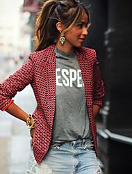 baratos -Mulheres Terno, Xadrez Colarinho de Camisa Poliéster Vermelho M / L / XL