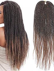 Недорогие -Волосы для кос Прямой Спиральные плетенки / Вязание крючком для волос 100% волосы канекалона 30 корней / пакет косы волос Темно-коричневый / Серый 22 дюймовый 22 дюймы