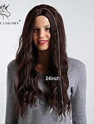 cheap -Synthetic Wig Wavy / Bouncy Curl Dark Brown Middle Part Dark Brown / Dark Auburn Synthetic Hair 24 inch Women's Simple / Synthetic / Best Quality Dark Brown Wig Long Capless BLONDE UNICORN