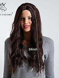 Недорогие -Парики из искусственных волос Волнистый / Блестящий завиток Темно-коричневый Средняя часть Темно-русый / Темно-русый Искусственные волосы 24 дюймовый Жен. Простой / синтетический / Лучшее качество